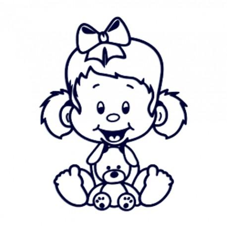 Samolepka na auto se jménem dítěte- holčička s plyšákem