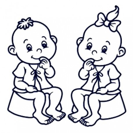 Samolepka na auto- dvojčata- kluk holka