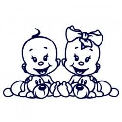 Samolepka na auto se jmény dětí- mimi dvojčata- kluk a holka