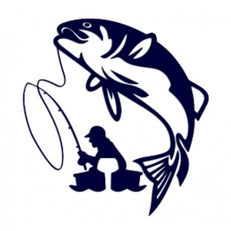 Samolepka na auto-rybář na rybách