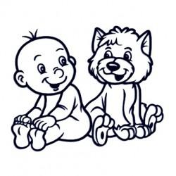 Samolepka na auto se jménem dítěte - kluk s pejskem 01