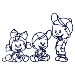 Samolepka na auto- sourozenci- holka a dva kluci- barva bílá