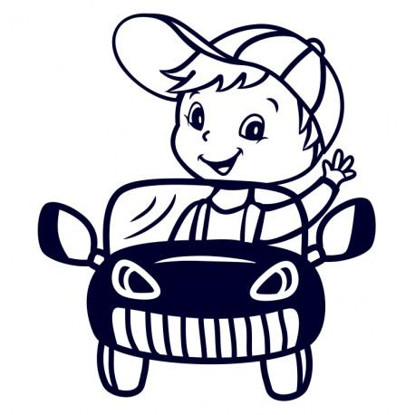 Samolepka na auto - kluk v autě