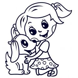 Samolepka na auto se jménem dítěte- holka s pejskem 01