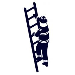Samolepka na auto - hasič na žebříku