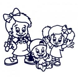 Nálepka na auto se jmény dětí- sourozenci- dvě holky a kluk 01
