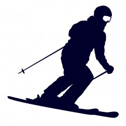 Samolepka na auto-lyžař