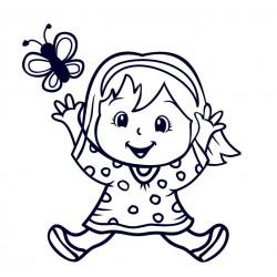 Samolepka na auto se jménem dítěte- holka s motýlem 01