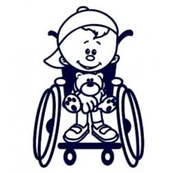 Samolepka na auto se jménem dítěte- kluk na vozíčku