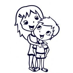 Samolepka dítě v autě- sourozenci holka a kluk