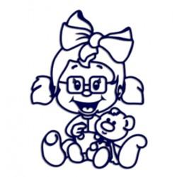 Samolepka na auto se jménem dítěte- holka s brýlemi