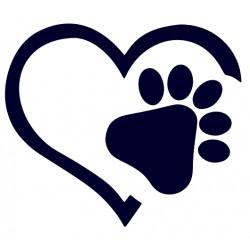 Otisk psí tlapky- Samolepka na auto-pes v autě srdce