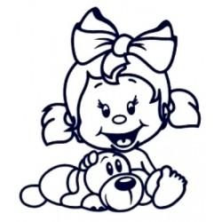 Samolepka na auto se jménem dítěte- holka s pejskem
