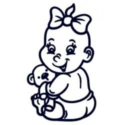Samolepka na auto se jménem dítěte- holka s mašlí a plyšákem