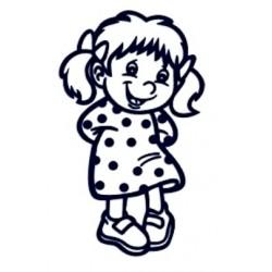 Samolepka na auto se jménem dítěte- holka v šatech