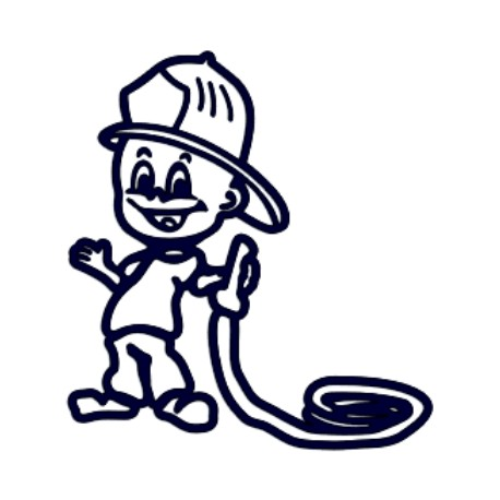 Samolepka na auto se jménem dítěte- hasič s hadicí