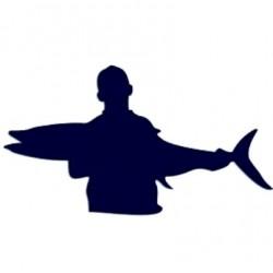 Samolepka na auto-rybář s úlovkem