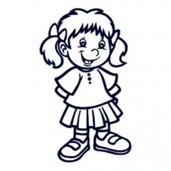 Nálepka na auto se jménem dítěte- holka v sukni