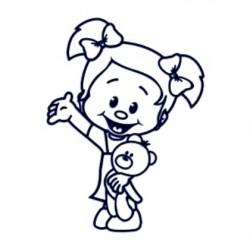 Nálepka na auto se jménem dítěte- holka s plyšákem