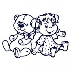 Samolepka na auto se jménem dítěte- holka s plyšákem