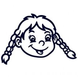 Samolepka na auto se jménem dítěte- holka copatá