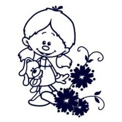 Samolepka na auto se jménem dítěte- holka s květinou