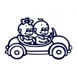 Samolepka na auto se jménem dítěte- dvojčata 05