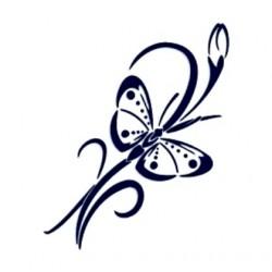 Samolepka na auto-květina a motýl