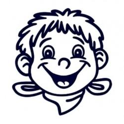Samolepka na auto se jménem dítěte- kluk s šátkem