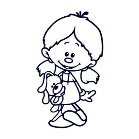 Samolepka na auto se jménem dítěte- vlasatá holka s plyšákem