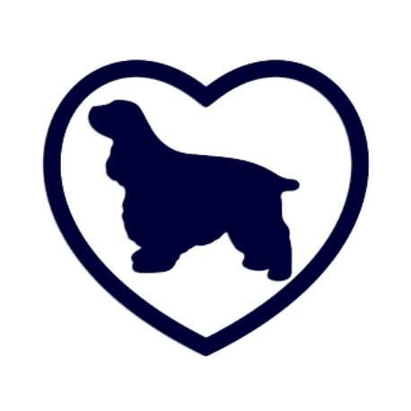 Samolepka na auto-pes v autě- kokršpaněl a srdce