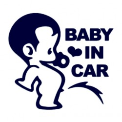 Baby in car- samolepka na auto se jménem dítěte