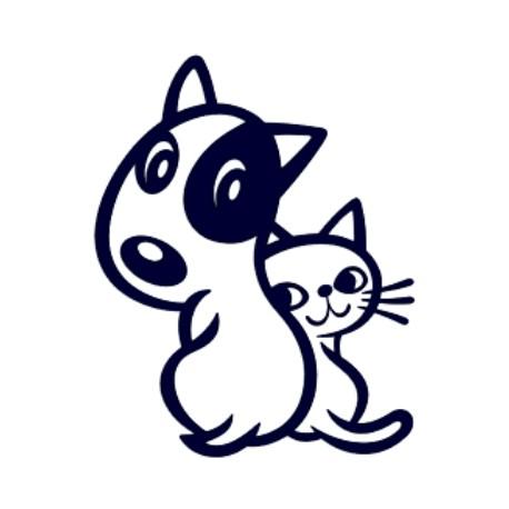 Samolepka na auto-pes v autě- pejsek a kočička