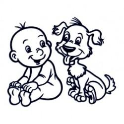 Samolepka na auto se jménem dítěte - kluk a pejsek
