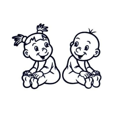 Samolepka na auto se jménem dítěte - dvojčata 06