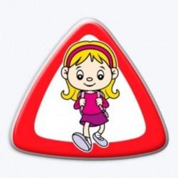 3D samolepka na auto-Dítě v autě- holka s aktovkou