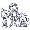 Samolepka na auto se jmény dětí- sourozenci- dvě holky a kluk