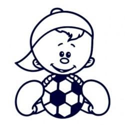 Samolepka na auto se jménem dítěte - kluk fotbalista 01
