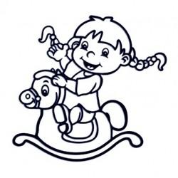Samolepka na auto - holka a houpací kůň