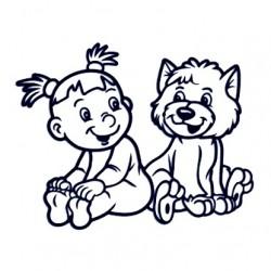 Samolepka na auto - holka a pes