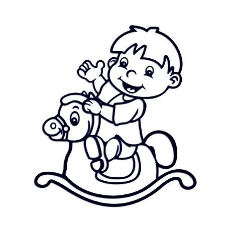 Samolepka na auto se jménem dítětě - kluk a houpací kůň