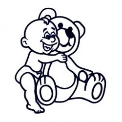 Samolepka na auto se jménem dítěte - kluk s plyšovým medvědem