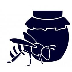 Samolepka na auto-včela se soudkem medu + vlastní text