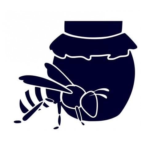 Samolepka na auto-včela se soudkem medu