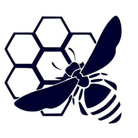 Samolepka na auto-včela na plástu