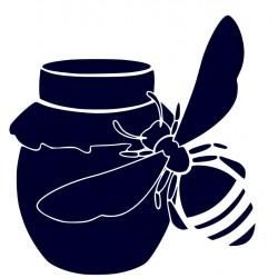 Samolepka na auto-včela se soudkem medu 01 + vlastní text