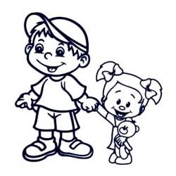 Samolepka na auto se jménem dítěte - sourozenci menší holka a kluk 01