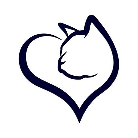 Samolepka na auto - kočka a srdce