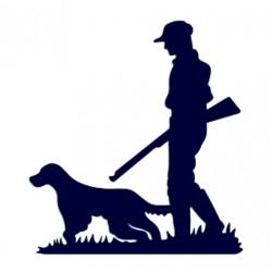 Myslivec- samolepka na auto- myslivec se psem