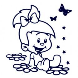 Samolepka na auto se jménem dítěte - holka na květinách